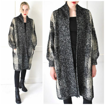 long DUSTER cardigan vintage 1980s 80s CHECK print black + white slouchy MINIMALIST long sweater os