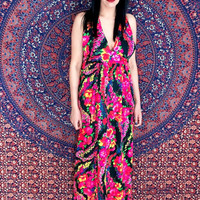 Vintage 60s Psychedelic Mod Flower Print Cotton Crepe Halter Neck Empire Waist Strappy Open Back Maxi w/ loose bust S // M
