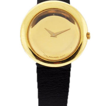 Movado Ladies Pre-Owned 18K Yellow Gold Dress Watch - Leather Strap