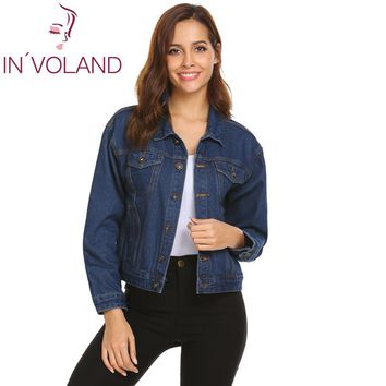 Loose Women Casual Pocket Single Patchwork Coat Up Breasted Long Washed Button Denim Outdoor Jacket Casual Sleeve