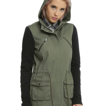 Olive Anorak Black Sleeve Girls Hooded Jacket