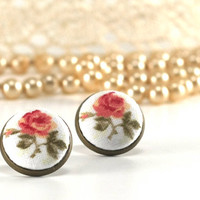 Stud Earrings - Antique Tea Roses - Pink Beige Tan and Green Fabric Covered Buttons Earrings - Romantic Jewelry