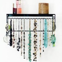 Wall-Mounted Jewelry Organizer - Necklace, Earring, Bracelet, Ring Holder in Black