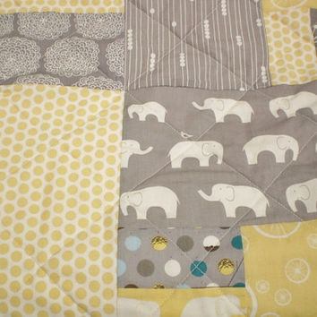 Elephant baby quilt-Organic baby quilt-Modern baby quilt-boy or girl quilt,Ellie Fam,Birch Fabric,yellow,grey,teal,woodland-Scrap Elephant