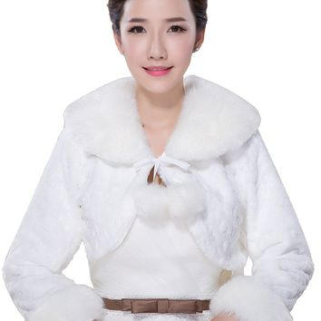 In Stock Wedding Accessory Faux Fur Black White Custom Made Bridal Coat Wedding Bolero Stoles Jacket Shrug Wraps LF47
