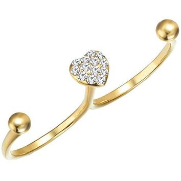 FAPPAC 2 Finger Heart Ring Enriched with Swarovski Crystals