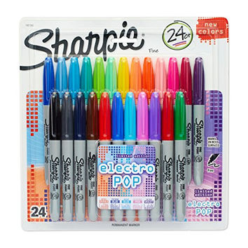 Sharpie Permanent Markers, Fine Point, 24-Pack, Assorted 2015 Colors (1927915)