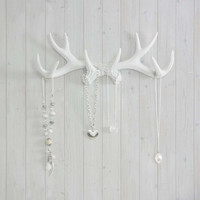 Antler Hooks White Necklace Rack by Wall Charmers™ - Fake Deer Animal Jewelry Decor Faux Resin Ceramic Organizer Mount Mounted Replica Art