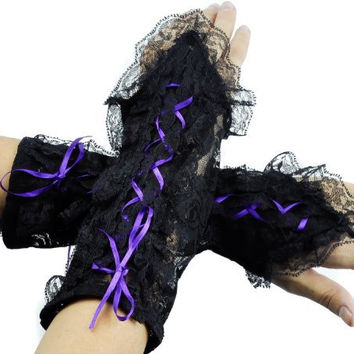 Short Purple Lace Up Gothic Gloves Lolita Arm Warmers