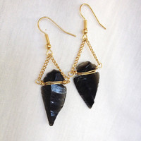 Black Obsidian Arrowhead Earrings | Minimalist Black Earrings | 18K Gold Chain Boho Wire Wrapped Arrowhead Native American Bohemian Earrings