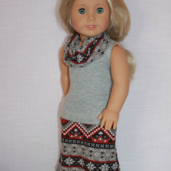 18 inch doll clothes, grey tank top, geometric print maxi skirt with matching infinity scarf, dolll maxi skirt , Upbeat Petites