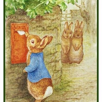 Peter Rabbit Mails a Letter inspired by Beatrix Potter Counted Cross Stitch Pattern
