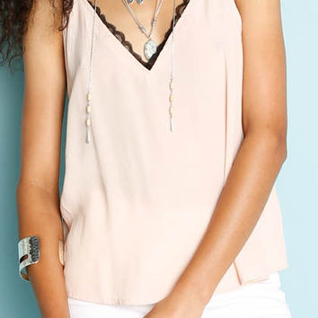 Blue Wren Layered Lace Tank Top