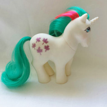 RARE Vintage 1984 Hasbro Gusty My Little Pony Toy Unicorn MLP First Generation Purple Glitter Maple Leaf Made in Hong Kong