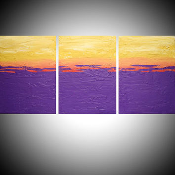 triptych 3 panel abstract acrylic art in purple gift multi panel canvas painting for home interiors 48 x 20 ""