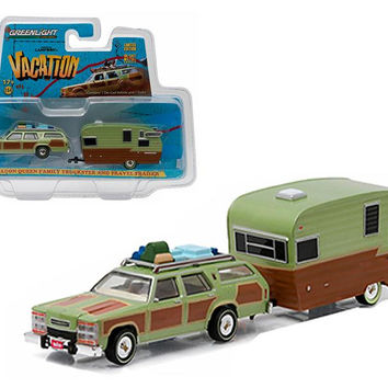 "1979 Family Truckster Wagon Queen ""National Lampoon's Vacation"" (1983) with Shasta 15' Airflyte Trailer 1-64 Diecast Model by Greenlight"