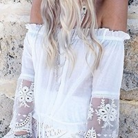 Awake At Dawn White Sheer Lace Bell Sleeve Off The Shoulder Tie Waist Peasant Blouse