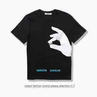 Short Sleeve Cotton Round-neck Couple T-shirts [10176383815]