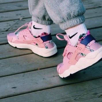 NIKE AIR Huarache Trending Women Leisure Running Sport Shoes Sneakers Pink I