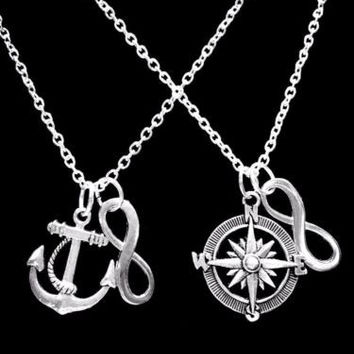 Anchor Compass Nautical Beach Infinity Sister Best Friends Friend Necklace Set