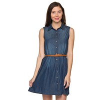 Sleeveless Button Down Belted Denim Chambray Tunic Mini Shirt Dress