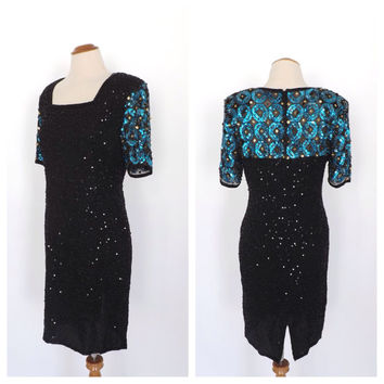 Vintage 1980s Stenay Black Sequin Beaded Dress Mod Short Cocktail Dress Avante Garde Silk Party Dress Flapper 1920s Art Deco Dress Size 8