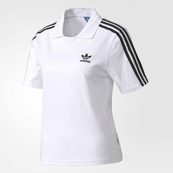 ADIDAS Woman Men Fashion Lapel Sport Shirt Top Tee