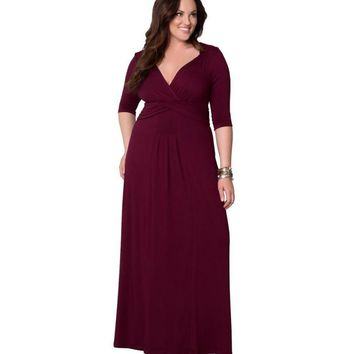 2018 hot sale womens vintage maxi summer half sleeve casual elegant evening party plus size 3xl sexy deep v-neck pleated dresses