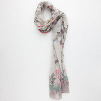 Sketchy Flower Border Print Scarf Grey Combo One Size For Women 25248056801