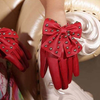 Newest Arrival Winter Motorcycle Lady Rivets Butterfly Bow Soft PU Leather Gloves For Women Black Red Free Size = 1958140100