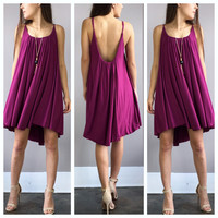 A Spaghetti Swoop Dress in Fuschia