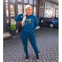 Champion Newest Popular Women Casual Long Sleeve Top Pants Trousers Set Two-Piece Blue