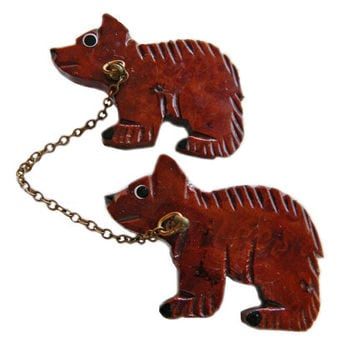Wood Bears Hand Carved Chatelaine Brooch