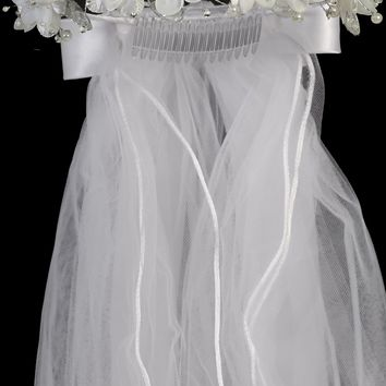 Double Flower Girls Communion Veil w. Sequined Mesh Accents