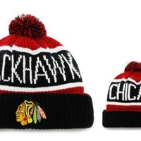 NHL Chicago Blackhawks Men's Calgary Knit Cuff Cap, One-Size, Red