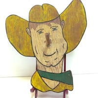 Folk Art Plaque Painted Wood Cowboy Ring Toss Game Clothes Hanger 1940s Vintage