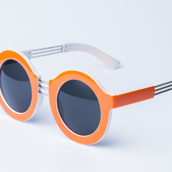 Vintage round sunglasses orange with white 80s deadstock. New.