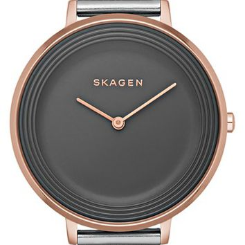 Women's Skagen 'Ditte' Round Textured Dial Watch, 37mm - Grey/ Rose Gold (Nordstrom Exclusive)