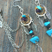 turquoise zuni bear dreamcatcher chained ear cuff SET turquoise and amethyst cuff in boho gypsy hippie hipsternative american tribal style