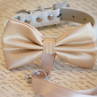 Champagne Dog Bow Tie collar, Dog ring bearer, Pet Wedding accessory