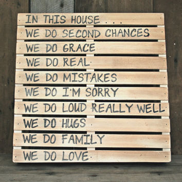Family Rules Sign - Pallet Style - Home Decor, Handmade, Country, Cottage, Shabby Chic, Rustic