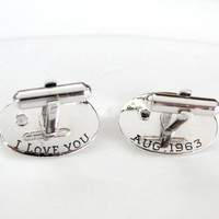 I Love You Hidden Message Sterling Cuff Links See Back Aug 1963