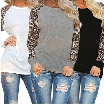 New Fashion Women's Long Sleeve Leopard Chiffon Cotton Casual Long Tops Shirt Blouse [8323379905]