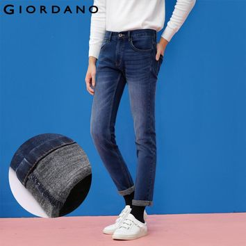 Giordano Men Jeans Denim Pants Fleece Lined Trousers Male Fashion Jean Pant Casual Brand Clothing Homme Vetement Famous