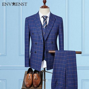Envmenst Tailor Made 3pc Double Breasted Plaid Business Suit