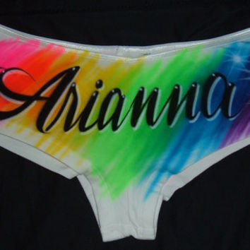 Airbrush Personalized Boy shorts Hipster Panties With Rainbow Colored Background