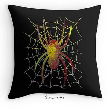 Halloween Scatter Cushion, Spider Throw Pillows, Black, Green Spider Web, Gothic Decor