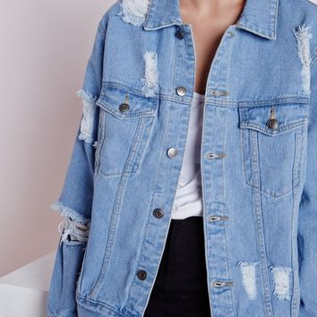 EXTREME RIP OVERSIZED DENIM JACKET