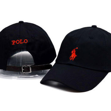 Red Polo Embroidery Sport Sunhat Baseball Cap Hat