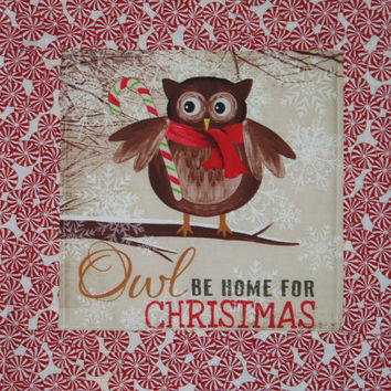 Christmas PEPPERMINT  OWL  quilted Wall Hanging, Table Topper, Holidays, Wall Decor, Place Mat, Housewares